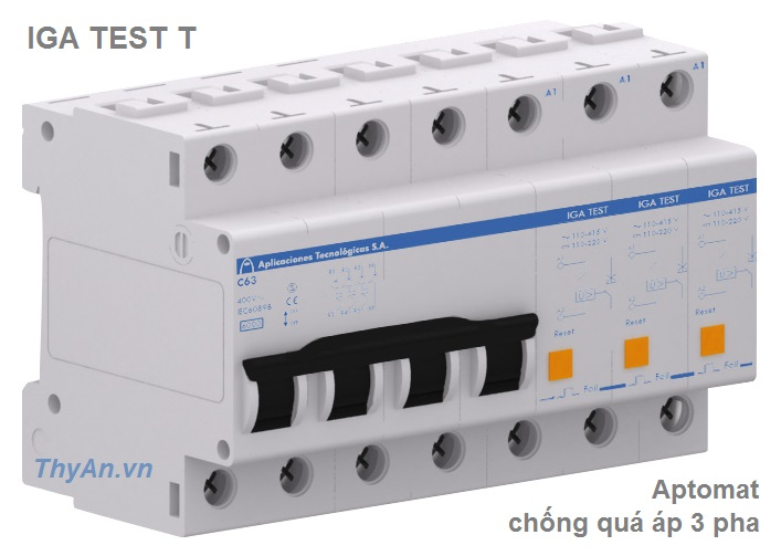 IGA TEST T 3 phase protector permanent overvoltages with MCB