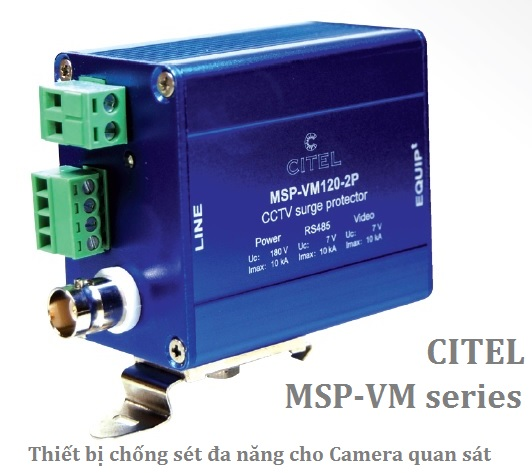 MSP-VM-230-2P Surge Protectors for Video Survey Camera (RS485,BNC,230Vac)