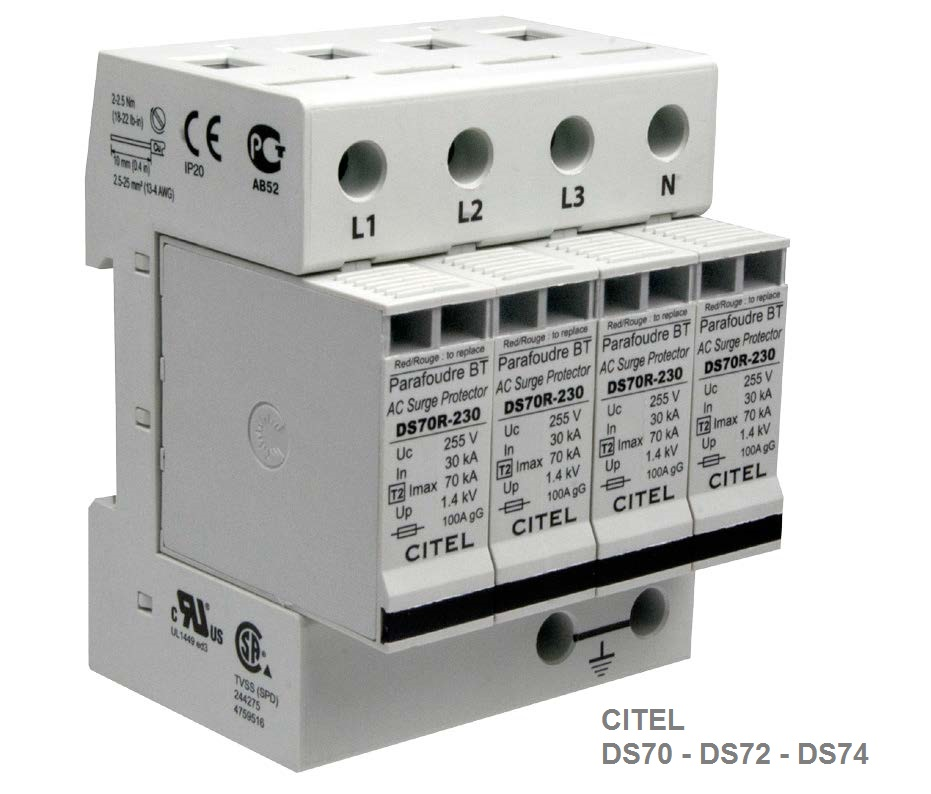 DS 74R Type 2 AC Multipolar 3-phase Surge Protector 70kA