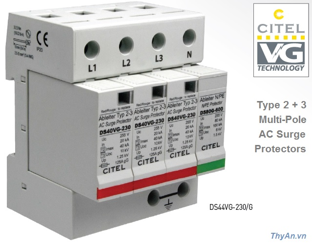 DS44VGS Type 2+3 Multi-Pole AC Surge Protector