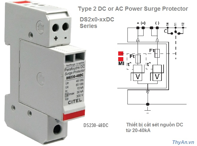 DS220-DC DC Power Surge Protector 20kA