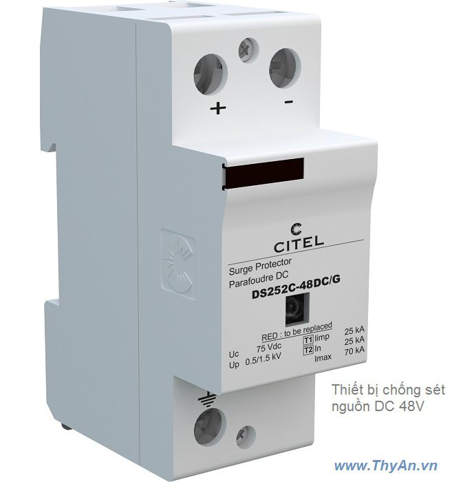 DS252C-48DC/G 2-pole Type 1 & Type 2 SPD for 48 Vdc