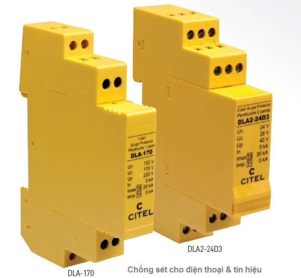DLA-24D3 DIN rail plug-in Surge Protector for 4-20 mA dataline